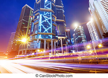 Hong Kong City night and modern building