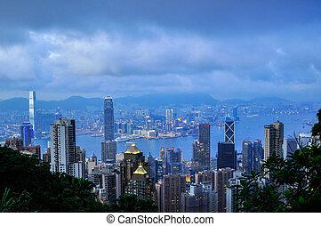 Hong Kong Island from Victoria Peak Park, China