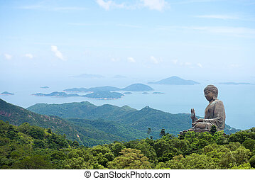 hong kong, lantau, eiland, reus, boeddha, van, po, lin,...