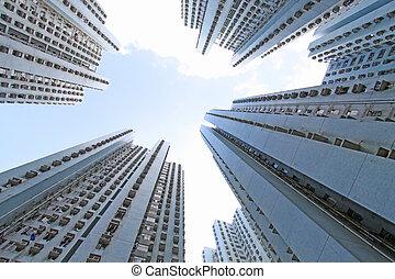 hong kong, logement, tassé, public
