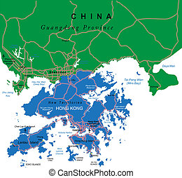 Hong Kong map - Highly detailed vector map of Hong Kong with...