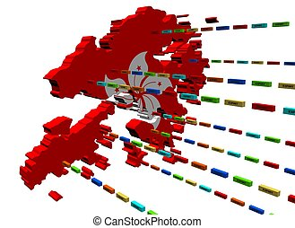 Hong Kong map with lines of containers