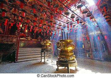 hong kong, mes, él, uno, famoso, temple., templo, hombre