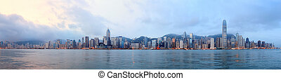 Hong Kong skyline panorama in the morning over Victoria Harbour.
