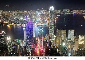 Hong Kong dynamic night, shot from the Peak.