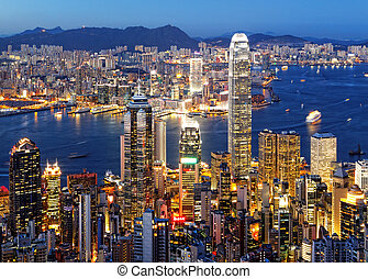 hong kong night - Hong Kong skyline at night
