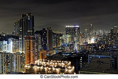 hong kong night, urban downtown area