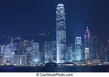 Hong Kong night view along Victoria Harbour