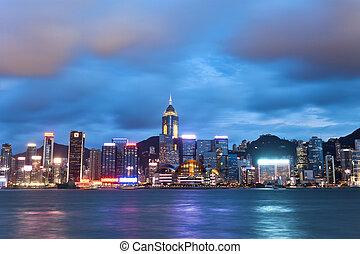 Hong Kong night view at Victoria Harbor