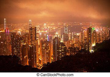 Hong Kong night view from Victoria peak.