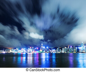 Hong Kong night view of Victoria Harbor, Hong Kong Island...