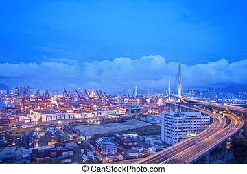 hong kong, noche, moderno, ciudad, en, asia
