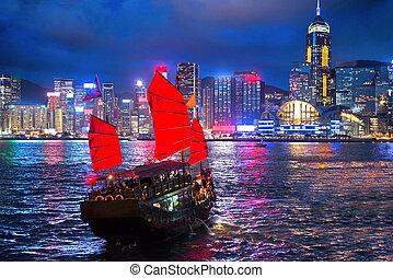 hong kong, notte, vista, con, nave rifiuto, su, primo piano