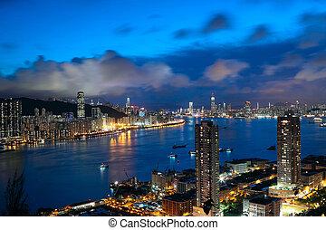 hong kong, noturna, modernos, cidade, em, ásia