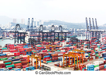 Containers at Hong Kong commercial port - HONG KONG -Oct 19...