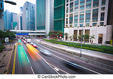 Hong Kong of City traffic at night - Hong Kong of highway...