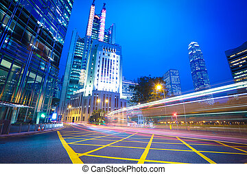 Hong Kong of City traffic at night