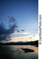 hong kong, ondergaande zon , langs, kust