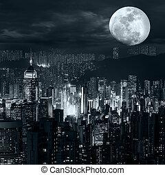 hong kong, orizzonte, a, luna piena, notte
