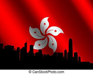 hong kong, orizzonte, con, bandiera