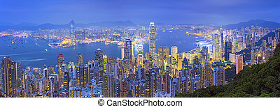 Hong Kong Panorama. - Panoramic image of Hong Kong with many...