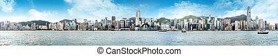 Hong Kong Panorama - Hong Kong's Victoria Harbour, the tall...