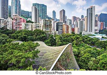 Hong Kong Park - High rise apartments above Hong Kong Park...