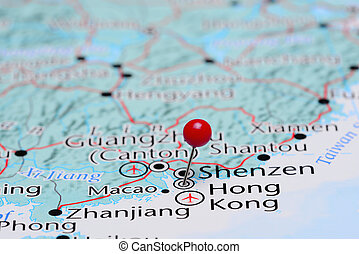 Hong Kong pinned on a map of Asia - Photo of pinned Hong...