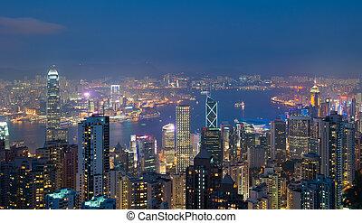 hong kong, por la noche, visión desde el pico de victoria