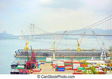 Hong Kong port - Hong Kong comercial container port . Tsing...