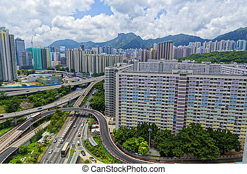 hong kong public estate with landmark lion rock