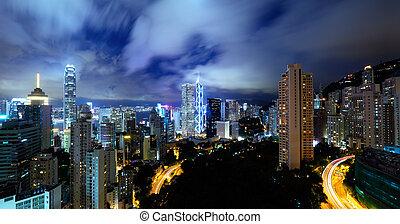 Hong Kong residential district at night