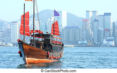hong kong, rifiuto, barca