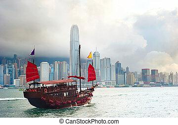 Hong Kong sailboat - Traditional chinese-style sailboat ...