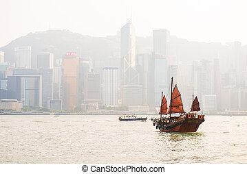 Hong Kong - September 23, 2016 :Chinese wooden sailing ship with red sails in Victoria harbor at Hong Kong Island