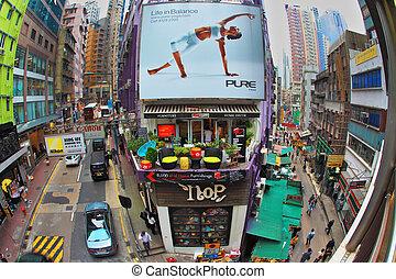 hong kong, shopping, strada, affollato