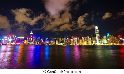 Hong Kong show Symphony of Lights, time lapse