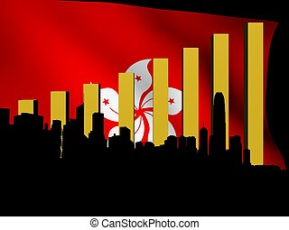 Hong Kong skyline and graph over flag