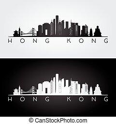 Hong Kong skyline and landmarks silhouette, black and white design, vector illustration.