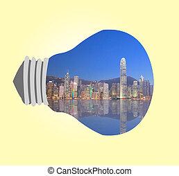 Hong Kong skyline at night  in lamp