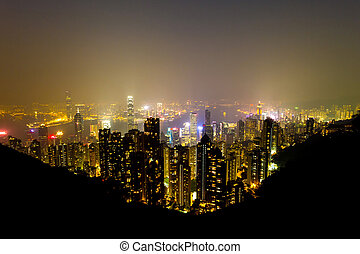 View of Hong Kong skyline shortly after sunset.