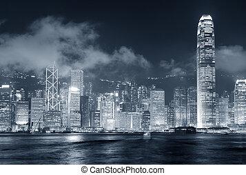 Hong Kong skyline black and white