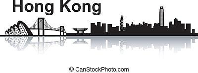 Hong Kong skyline - black and white vector illustration