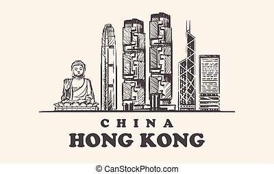 Hong Kong skyline, China vintage vector illustration