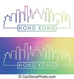 Hong Kong skyline. Colorful linear style.