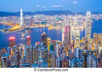 hong kong, skyline, em, anoitecer