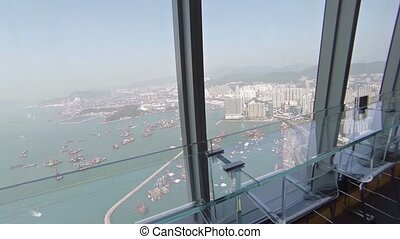 Hong Kong Skyline from the Observation Deck of a Skyscraper. FullHD video