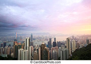 Hong Kong skyline from Victoria Peak at sunrise