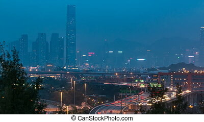 Hong Kong Skyline near Container Terminal day to Night timelapse