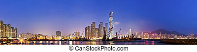 Hong Kong skyline night view at coast